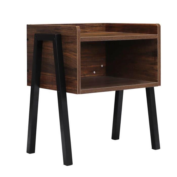 Table basse salon en bois table basse carré table chevet vintage avec Compartiment Table d'Appoint Rétro Pieds en Métal-TAM