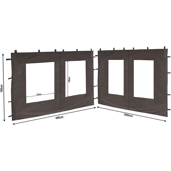 2 Panneaux latéraux en PE avec fenêtre 300x195cm - 400x195cm pour pavillon 3x4m paroi latérale Anthracite RAL 7012[147]