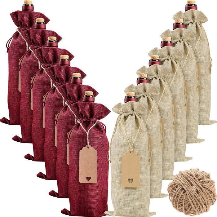 Sacs en Toile de Jute pour Le Vin,12 pièces Sacs Réutilisables pour Bouteilles de Vin Avec Cordons et Etiquettes Cadeau de Noël