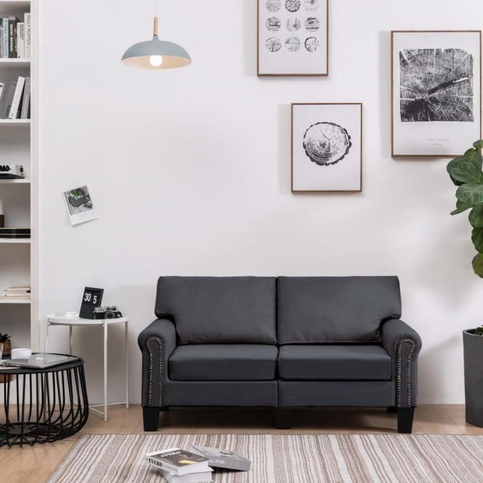 Canapé 2 places Gris Tissu Moderne