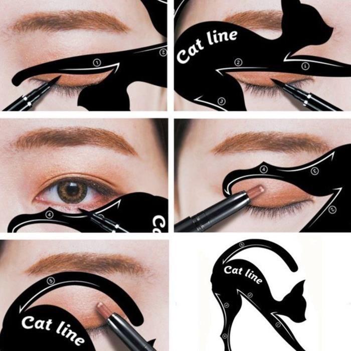 Pochoir Eyeliner Stencil Cat Eye - 10 formes - Plus de BAVURES !