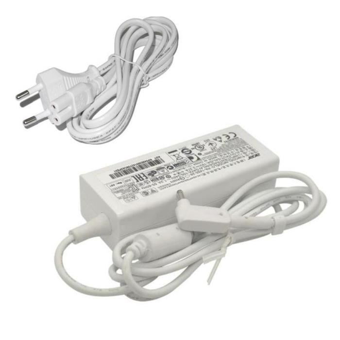 Chargeur pour Ordinateur portable Acer Output : 19v 1.6a aspire et packard bell 19v 1.58a blanc