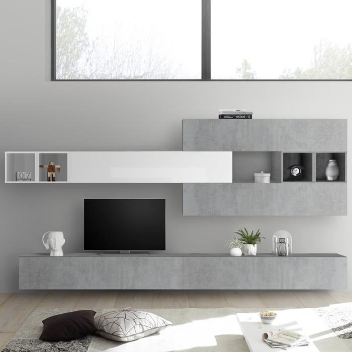 Composition murale TV gris béton et blanc laqué BOLCA Gris L 280 x P 30 x H 180 cm