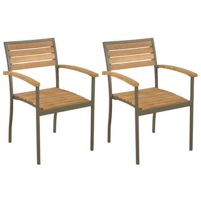 Star® 2 x Chaise empilables d'extérieur Professionnel Fauteuil de Jardin Bois d'acacia et Acier 7225 :-)
