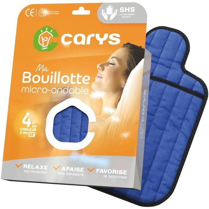 CARYS Bouillotte micro ondes coton matelassé - Bleu
