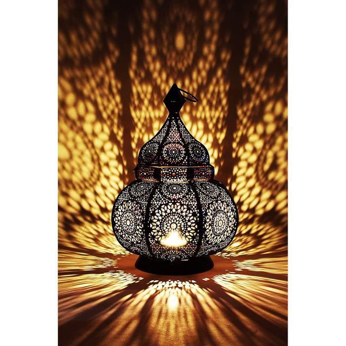 Petite Lanterne marocaine en métal Ziva 30cm noir - Photophore marocain pour l'extérieur au jardin ou l'intérieur sur la tabl 56
