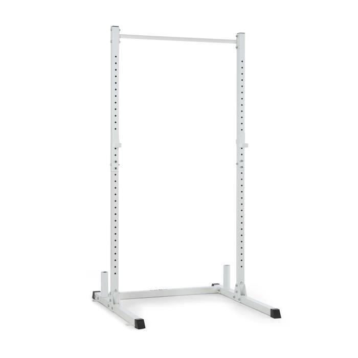 Klarfit HR 1100 Station support haltères musculation - Demi-rack 2 crochets + Barre de traction - Cadre acier noir -150kg max -Blanc