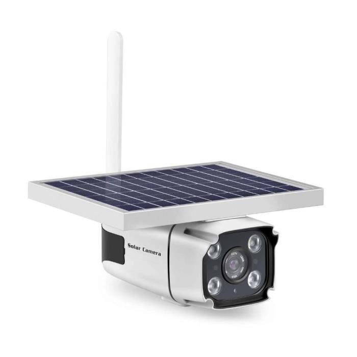 Solaire Caméra de Surveillance 1080P 4G Caméra Mode Jour-Nuit,Caméra IP Panneau Alimentée Étanche CCTV Support SIM TCP-IP P2P