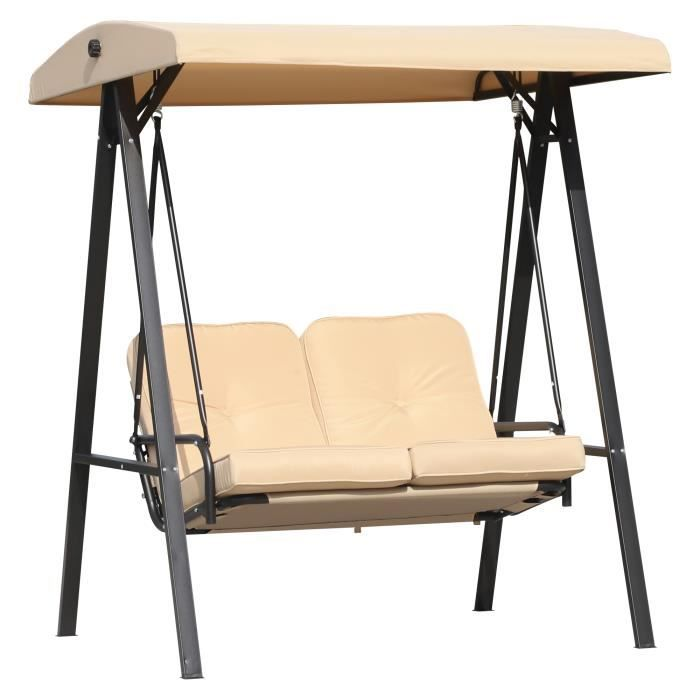 Balancelle de jardin 2 places grand confort coussins d'assise et dossier fournis accoudoirs pare-soleil sable