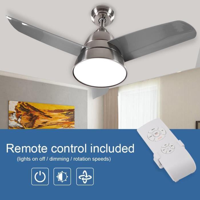 ✯36 Ventilateur de plafond avec lumières changeantes 3 couleurs et télécommande 3 pales nickel sable✯-HES