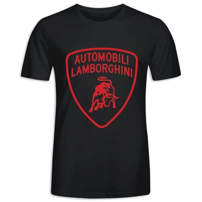 Tee Shirt avec imprimé en Lamborghini Manche Courte T-shirt Homme