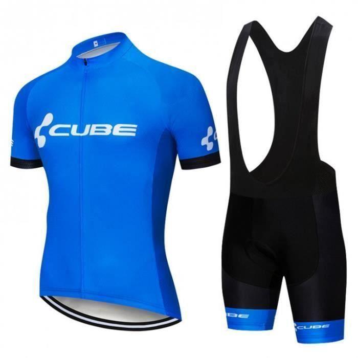 CUBE Ensemble Cuissard Maillot Cycliste Manches Courte Homme Vêtement de Vélo Equipe Pro avec GEL de Silicone