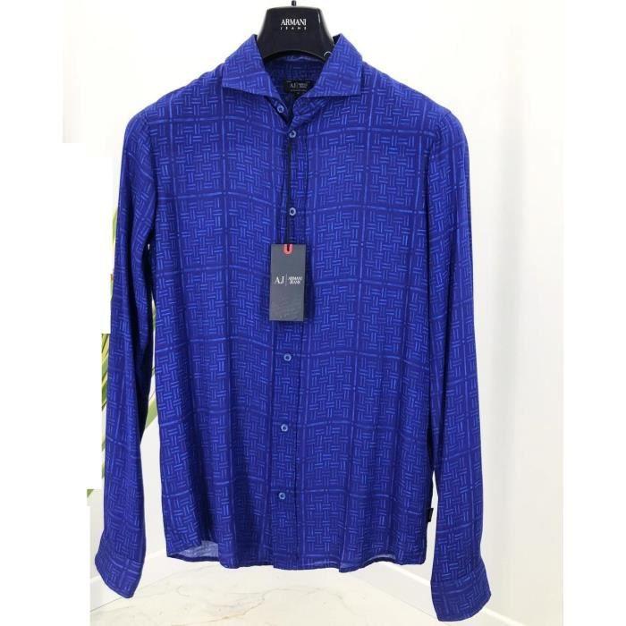 Chemise Armani Jeans Bleu manches longues pour hommes. C6C60.