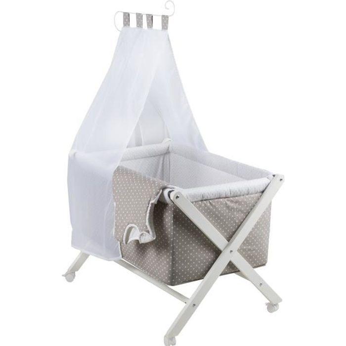 ROBA Berceau cododo -Punkte-, pliable, blanc laqué, tour de lit douillet, sac de couchage 70 cm et baldaquin