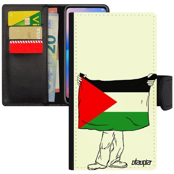 Coque Samsung J3 2017 porte cartes drapeau palestine palestinien design basket coupe du monde flip case jo galaxy