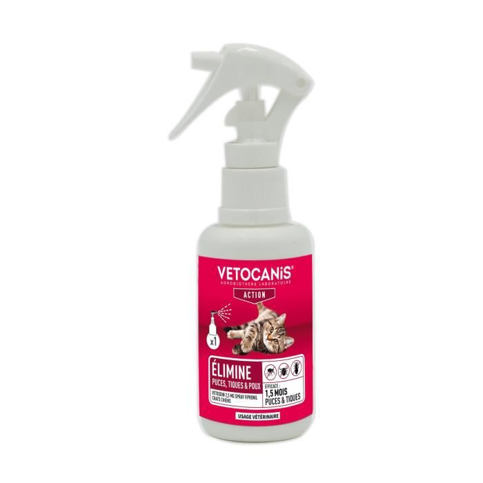 VETOSOIN Spray Action Anti-Puces Anti-Tiques au Fipronil pour Chat