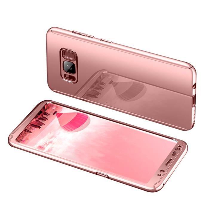 revêtement miroir PC Hard case+Film protecteur d'écran de verre trempé Cover Coque pour Samsung Galaxy S8 -Or rose