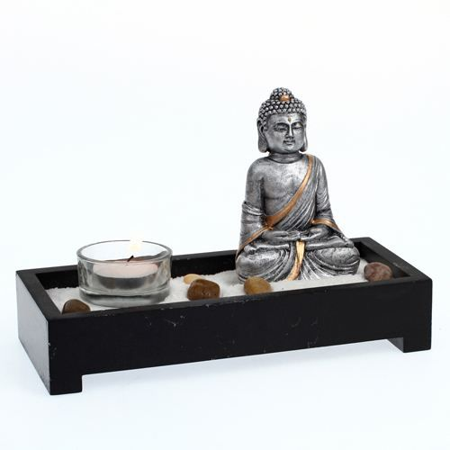 mini jardin zen bouddha l 21 cm achat vente jardin japonais zen mdf r sine cdiscount. Black Bedroom Furniture Sets. Home Design Ideas