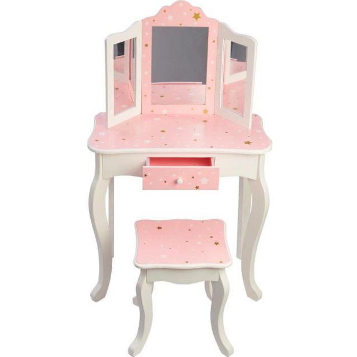 Meuble Coiffeuse Table De Maquillage Bois Pour Enfant Avec