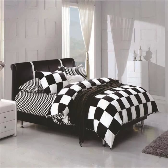 l m noir et blanc de la grille parure de couette parure. Black Bedroom Furniture Sets. Home Design Ideas