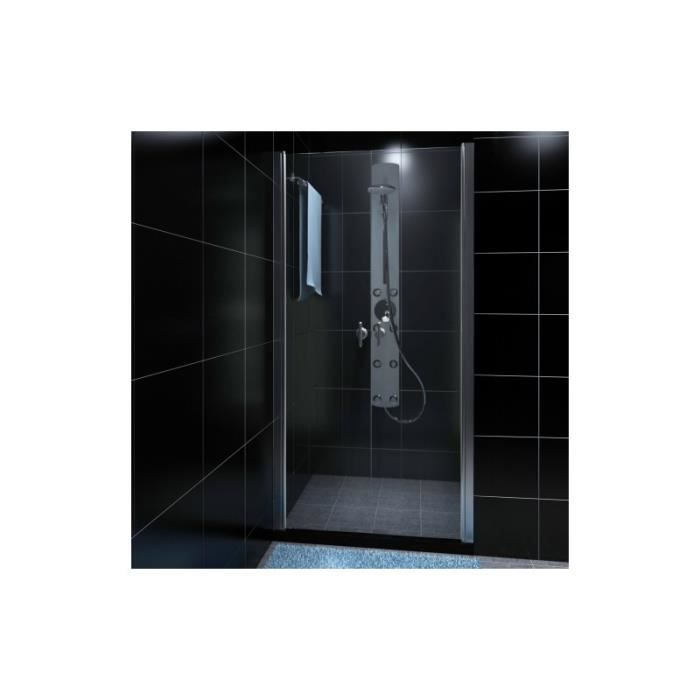 porte de douche battante verre s curit transparent 80 cm achat vente colonne salle de bain. Black Bedroom Furniture Sets. Home Design Ideas