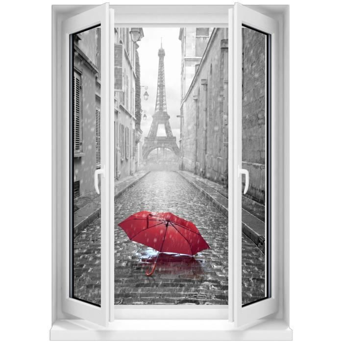 Sticker mural fen tre trompe l oeil parapluie rouge paris for Fenetre zen modele paris