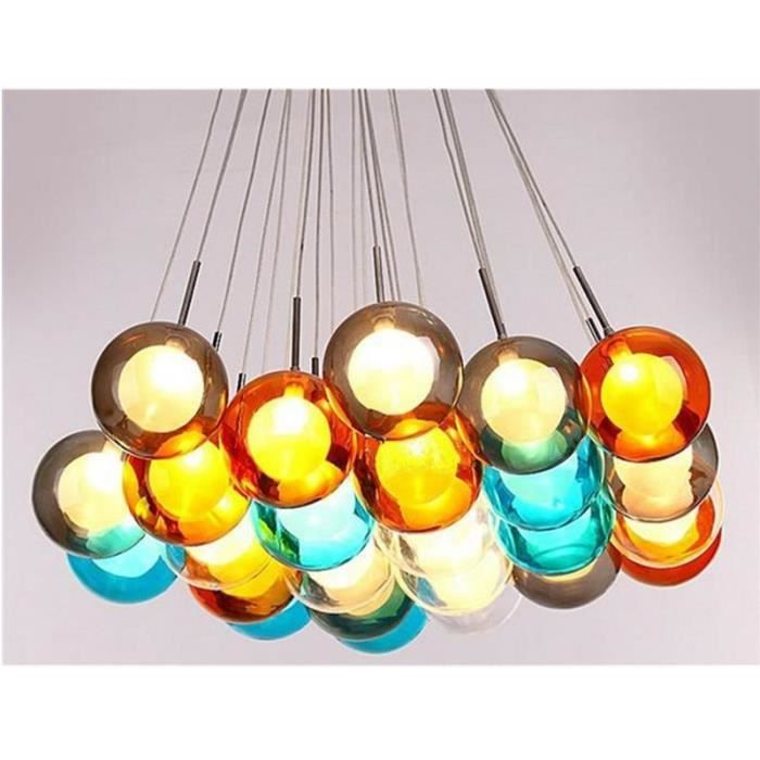 bocci boule de verre suspension lustre de verre color sph res modernes led lampe bubble couleur. Black Bedroom Furniture Sets. Home Design Ideas