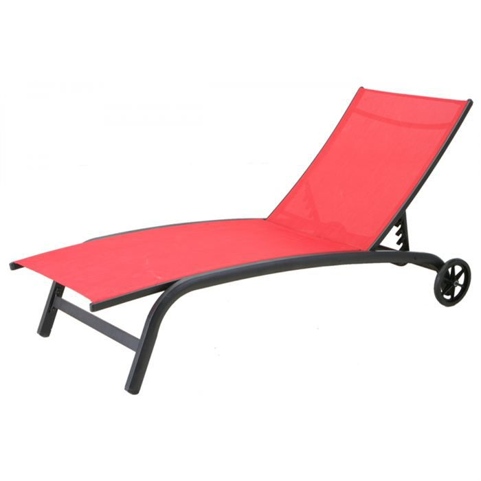 Transat nagua multipositions hesperide rouge achat for Chaise longue jardin hesperide