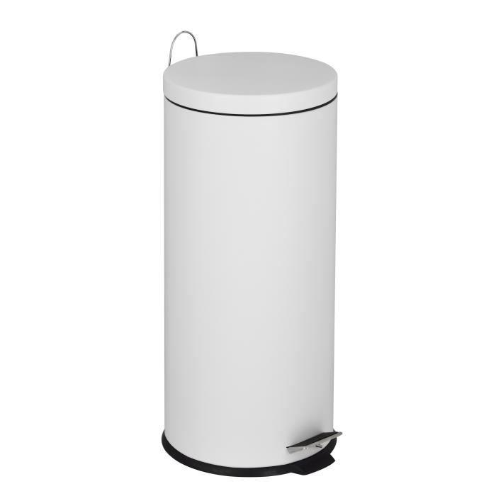 mDesign poubelle de cuisine pratique poubelle avec couvercle en plastique blanc et couleur argent poubelle design 5L pour salle de bain bureau et cuisine