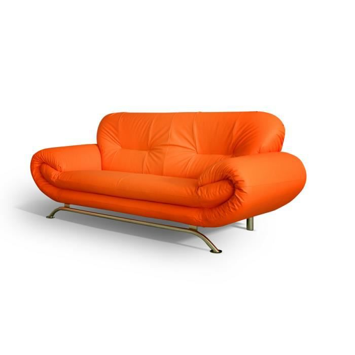 canap 3 places ameliane orange achat vente canap sofa divan cdiscount. Black Bedroom Furniture Sets. Home Design Ideas