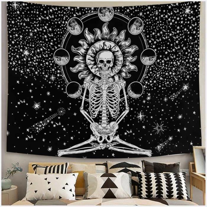 Tapisserie Espace Lune stars Polyester Fibre nappes Décoration Noir