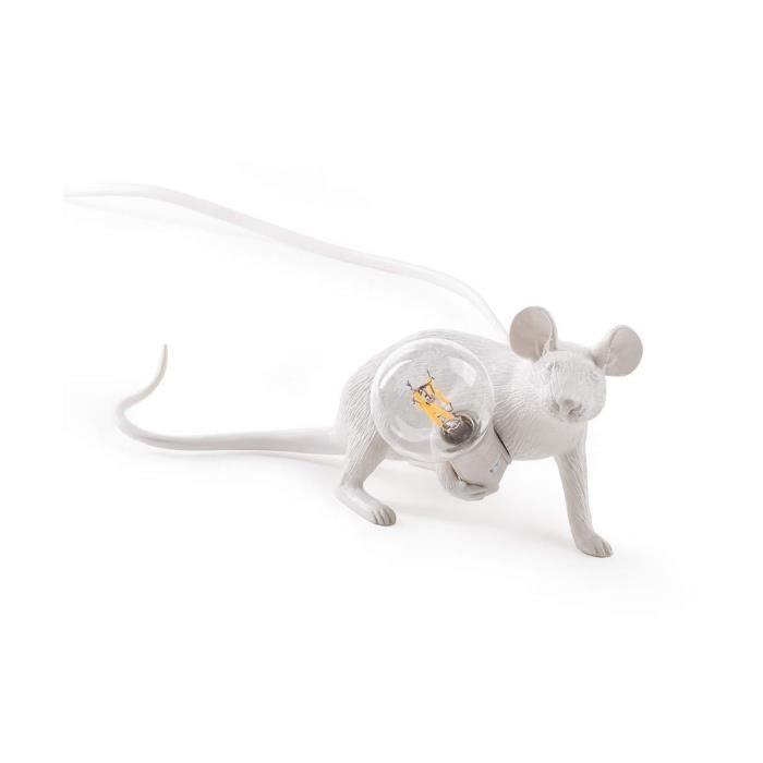 Seletti Mouse Lamp Allong/é lampe en forme de souris gris 220 Volt
