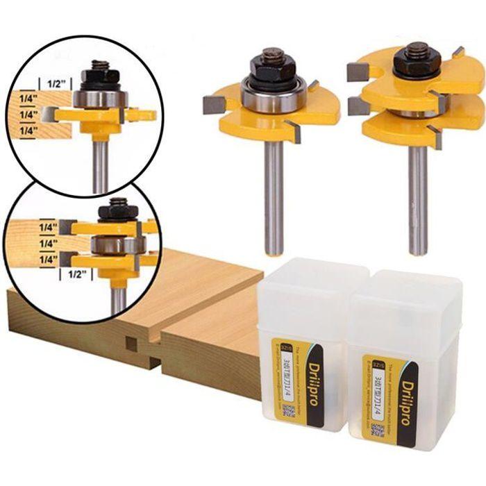 Ensemble de bits de routeur r/églable pour fraises /à fente de tige pour outil de travail du bois Manche de 8 mm /à 5 lames pour machine de d/écoupe de bois
