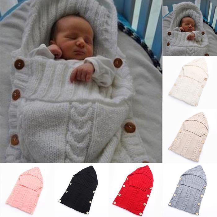 COUVERTURE - PLAID BÉBÉ Mignon Couverture tricoté Infant Souple Chaud Somm