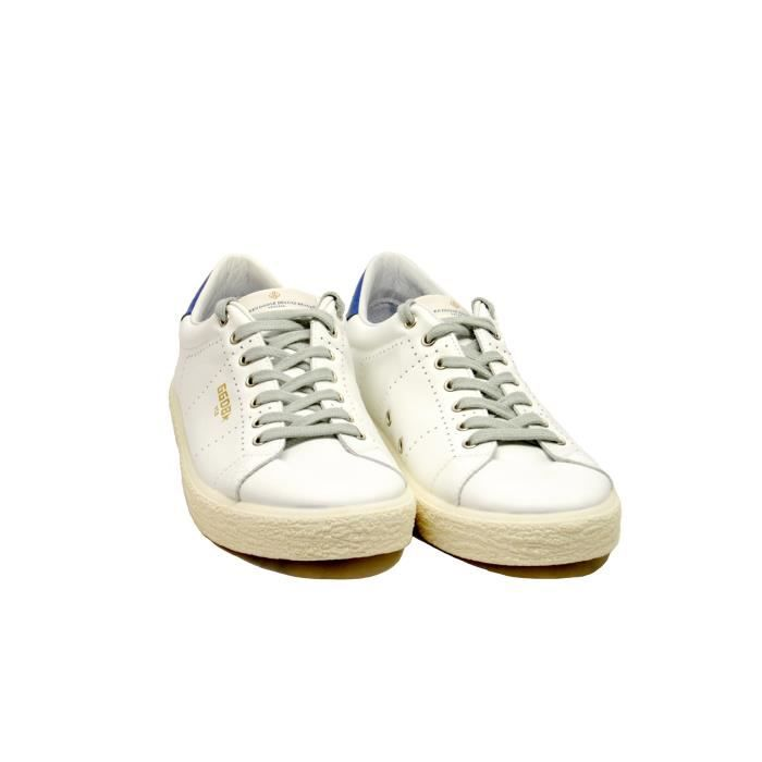 GOLDEN GOOSE HOMME G32MS714B8 BLANC CUIR BASKETS
