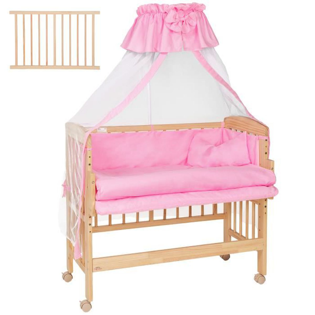 lit b b lit enfant lit d appoint lit baldaquin en bois convertible rose tectake rose rose. Black Bedroom Furniture Sets. Home Design Ideas
