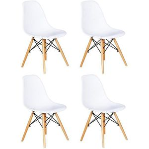 CHAISE Lot de 4 Chaises Design scandinave Blanches