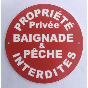 """Plaque gravée autocollante 20x15cm /""""Pêche et baignade interdites/"""" fond rouge"""
