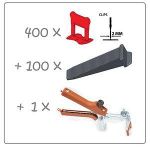 CARRELAGE - PAREMENT Kit 2mm 400clips+100coins+pince metal Raimondi. PE