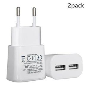 CHARGEUR TÉLÉPHONE 2pcs Chargeur Secteur USB 2 Ports Universel Charge