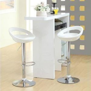 TABOURET DE BAR Lot de 2 tabourets de bar blanc en ABS pour Bar, C