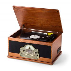 RADIO CD CASSETTE SHUMAN 7 en 1 Platine Vinyle Vintage Brun, Plateau