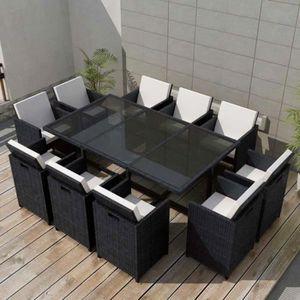 SALON DE JARDIN  Jeu de mobilier de jardin 31 pcs Confort Noir Rési
