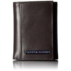 Homme Cuir Naturel Portefeuille 6 carte de crédit Slots 1 Bill compartiment deux volets marron