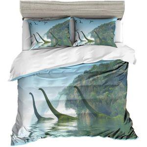Dinosaures Microfibre 100 x 135cm 40 x 60cm AShanlan Parure de lit pour Enfant 100/% Microfibre Motif Dinosaure