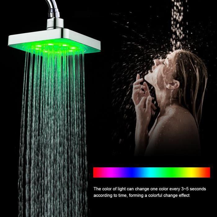 7 couleurs LED Pommeau de douche maison lumière romantique bain d'eau en matériau ABS