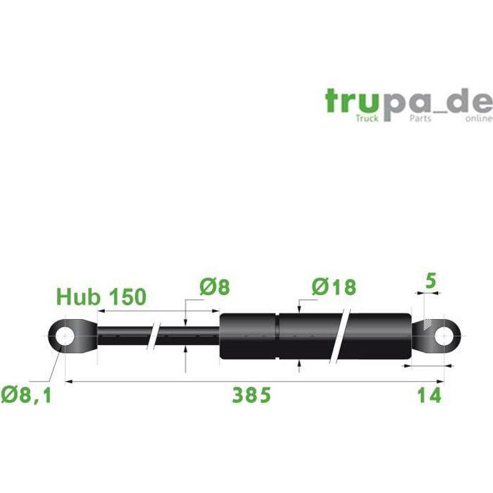 Ressort vérin à gaz acier Ø8mm - force 100N - course 150mm