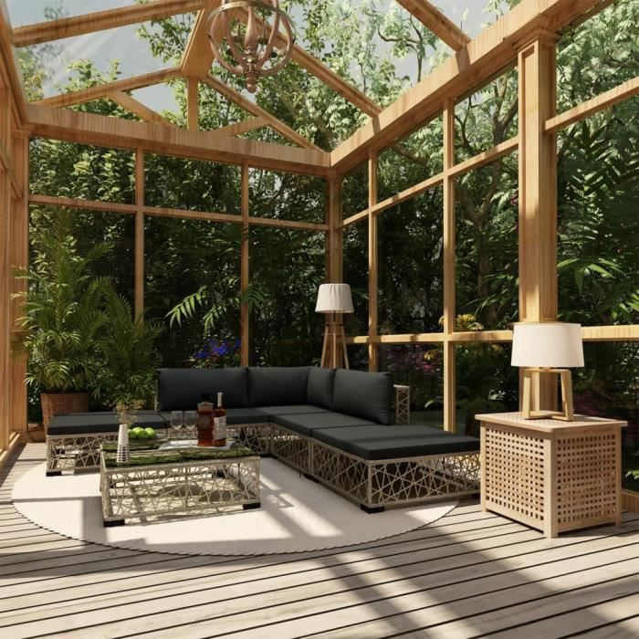 Luxueux - Salon de jardin 6 pcs - Ensemble repas de jardin - Meuble de jardin avec coussins Résine tressée Gris #38691