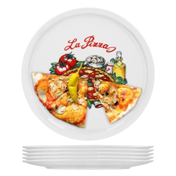 Set de 6 assiettes à pizza Napoli grand - assiettes en porcelaine 30,5 cm avec un beau motif - adapté pour pizza - pâtes, la