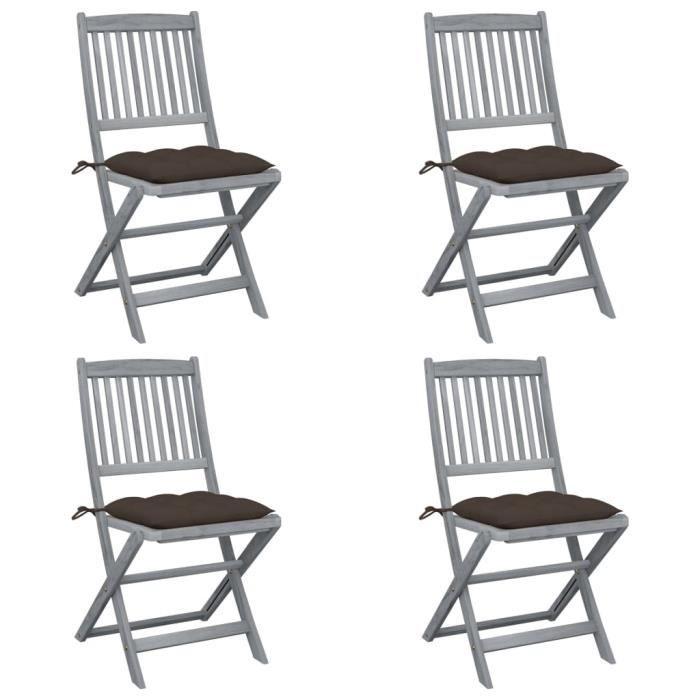 Star® Lot de 4 Chaises de jardin pliables Chaise d'extérieur Contemporain - Fauteuil de Jardin avec coussins Bois d'acacia 1824 :-)